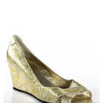 Taryn Rose Gold Metallic Leather Crackle Textured Wedge Sandals Sz 38 8 Photo