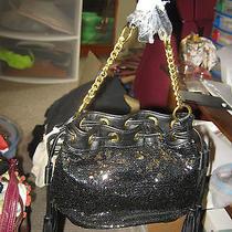 Tassel & Sequin Elements Handbag Black/gold Nwt Photo
