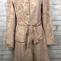 Taunt Blush Pink Floral Tapestry Formal Long Belted Jacket Size Small Photo