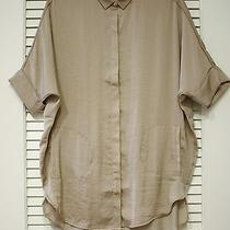 Taupe Doman Tunic Shirts S W/ Anthropologie Earrings Photo