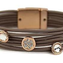 Taupe Multistrand Rose Gold Flushed Bezels Bracelet Photo