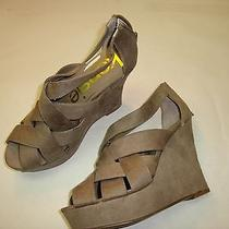 Taupe Non Stretch Suede Fabric Peep Toe High Wedge Shoe Size 8.5 Kensie Girl Photo