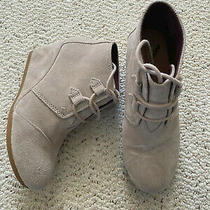 Taupe Toms Kala Suede Wedge Lace-Up Ankle Booties Women's Size 6.5 Photo