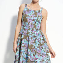 Taylor Floral Bengaline (Cotton Silk) (Aqua Blue Purple) Dress 6p 168 Photo