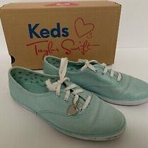 Taylor Swift Keds Metallic Canvas Lt Blue Sneakers Size 8 Pre-Owned W/box Dirty Photo