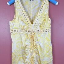 Tb07002- Express Women's Silk Tank Top Gold Tone Metal Bead Tie Yellow White S Photo