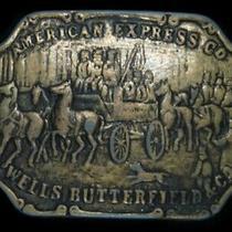 Tb07103 Vintage 1970s American Express Co. Advertisement Belt Buckle Photo