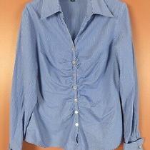 Tb07758- Lafayette 148 Ny Women Lightweight Cotton Blouse French Cuff Pleated 10 Photo