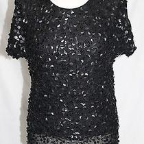 Tbags Los Angeles - Xs - Solid Black Sequence Front Semi-Formal Short Sleeve Top Photo