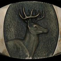 Td01155 Vintage 1978 Big Buck Deer Steven L Knight Art Solid Bronze Buckle Photo