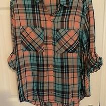 Teal and Orange Express Flannel Shirt Size Xs  Photo