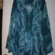 Teal & Aqua Print Blouse by Liz & Me   Size 4x Photo