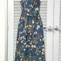 Teal Floral v-Neck Slevless Jumpsuit Xl W/ Anthropologie Earrings Photo