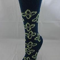 Teal Flowered Socks Wool Cashmere Angora Ladies 9-11 B.ella Freya Usa Made Photo