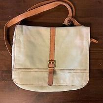 Teal Tan Crossbody Messenger Style Vintage Leather Fossil Key Purse Photo