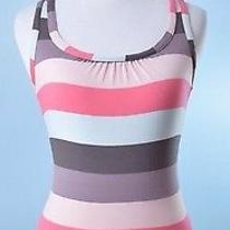 Ted Baker 185 Blush Pink Taupe Stripe Sleeveless Racer Back Top Size 1 Small Photo