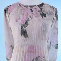 Ted Baker 225 Blush Pink 3/4 Sleeve Rose Gold Hardware 100% Silk Top Ted Size 2 Photo