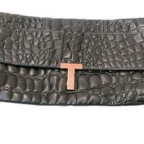 Ted Baker Black Branded Clutch Bag With Rose Gold T. Embossed Croc Leather Photo