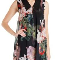 Ted Baker Black Floral Candis Opulent Bloom Collared Print Dress Size 1 - Uk8 Photo