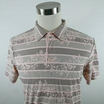 Ted Baker Mens Cotton Ss Blush Pink Floral Striped Polo Shirt Size 4 Medium Photo