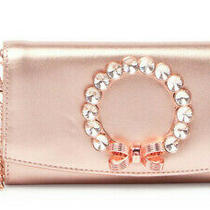 Ted Baker Pearl Bow Leather Crossbody Matinee Bag Chain Wallet Clutch Rose Gold Photo