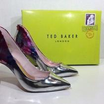 Ted Baker Savei Womens Size 5 Blushing Bouquet Silver Dress Heel Pumps Zv-1095 Photo
