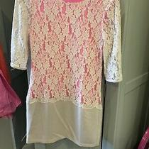 Ted Baker Size 1 (Uk8) Pink and Cream/blush Lace Dress Used Photo