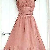 Ted Baker Size 12 / 3 Blush Pink 100% Silk Crinkle Fit & Flare Dress Wedding  Photo