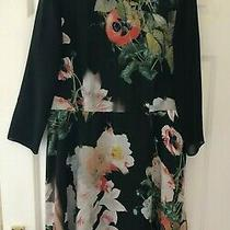 Ted Baker Sz 12 (3) Beautiful Opulent Bloom Black Floral Collar Dress fit&flare  Photo