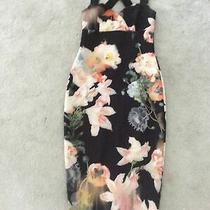 Ted Baker Sz  12  (3) Beautiful Opulent Bloom Black Floral Midi  Dress Stretch Photo