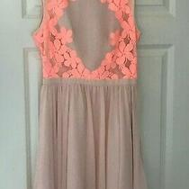 Ted Baker Sz 14 (4) Summer Vember Blush Pink Orange Lace Skater Dress fit&flare  Photo