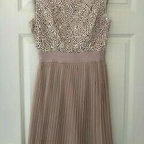 Ted Baker Sz 8 (1) Aliana Blush Pink Lace Pleated Reversible Dress Immaculate Photo