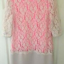 Ted Baker Sz 8  (1) Beautiful Gabbiey Neon / Blush Pink Lace Shift Dress Tunic  Photo
