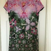 Ted Baker Sz 8 - 1 Natural Kingdom Geo Edessa Green Pink Dress Immaculate  Photo