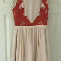 Ted Baker Sz 8 (1 ) Vember Blush Pink Orange Lace Skater Dress Fit and Flare  Photo