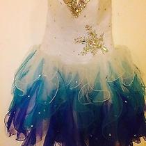 Teen Prom Dress White Aquamarine Turquoise With Embellishments Photo