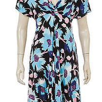 Temperley Blue Multicolor Short Sleeve Floral Print Dress (Size 2) Photo