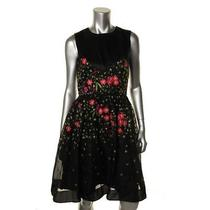 Temperley London New Black Silk Embroidered Wear to Work Dress 6 Bhfo Photo