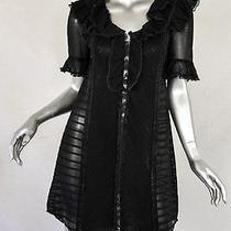 Temperley London Womens Black Cotton Lace Peter Pan Collar Mini Shift Dress 10/6 Photo