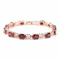 Tennis Bracelet for Women Rose Garnet Cubic Zirconia Cz Size 7.25