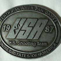 Tenth Pan American Games Us Shooting Team Belt Buckle Vintage Pewter Collectible Photo