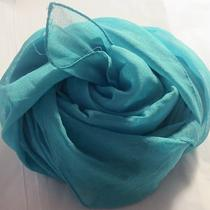 Terriart Aqua Sheer Silky Square Scarf-Vintage Photo