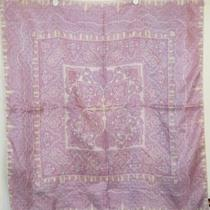 Terriart Lavender Blue White Fancy Border Silk Jacquard Sq Scarf-Vintage Oscar Photo