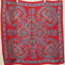 Terriart Red Purple Gold Fancy Paisley Print Silk Sq Scarf-Vintage Photo
