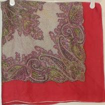 Terriart Rose Lavender Lime Fancy Paisley Silk Square Scarf-Vintage Photo