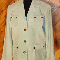 Terry Lewis Classic Luxuries Aqua Suede 3 Button Blazer M Nwt Photo