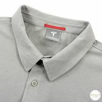 Tesla Fossil Grey Cotton Embroidered Half Btn Short Sleeve Polo Shirt L Photo