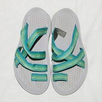 Teva Blue and Green Nylon Ring Toe Slides Sandals Women's 6 Photo