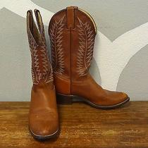 Texas Brown Leather Vintage American Made Classic Pull on Cowboy Boots - 9.5 Photo