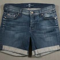Tf10410   Seven for All Mankind Denim Womens Jean Shorts Sz26 Dark Blue Photo
